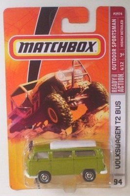 Matchbox Volkswagen T2 Bus Green # 94, 2008 Outdoor Sportsman 1:64 Scale