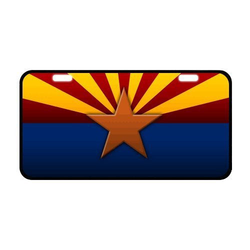 "us topo - Arizona State Flag Durable Aluminum Car License Plate 11.8"" x 6.1"" - Wide World Maps & MORE! - Sports - Arizona Flag License Plate - Wide World Maps & MORE!"