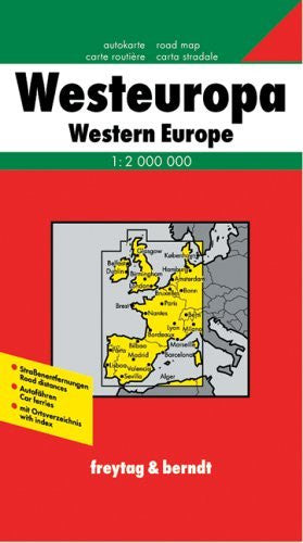 Western Europe Map (English, French, Italian and German Edition)