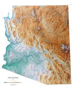 Arizona Topographical Wall Map by Raven Maps, Laminated Print