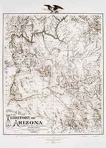 Official Map of the Territory of Arizona 1880 Gloss Laminated