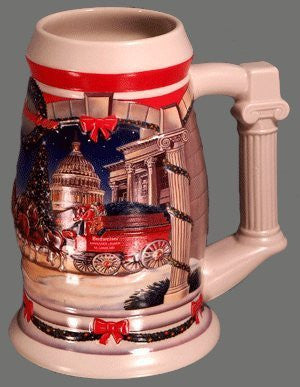 Anheuser-Busch Budweiser Holiday Stein Series - 2001 Holiday at The Capitol - Clydesdales Pulling The Holiday Beer Wagon