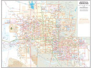Metropolitan Phoenix ZIP Code Arterial and Collector Streets Wall Map Dry Erase Laminated (Yellow1) (Yellow1)