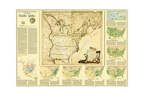 The Territorial Growth of the United States Ready-to-Hang - Wide World Maps & MORE! - Map - National Geographic Maps - Wide World Maps & MORE!