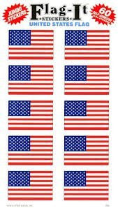 United States Flag Self-Adhesive Flag Stickers, 60 Count