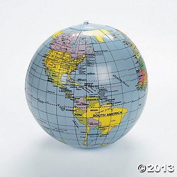 "us topo - Inflatable World Globe - 11"" - Wide World Maps & MORE! - Office Product - Oriental Trading Company - Wide World Maps & MORE!"