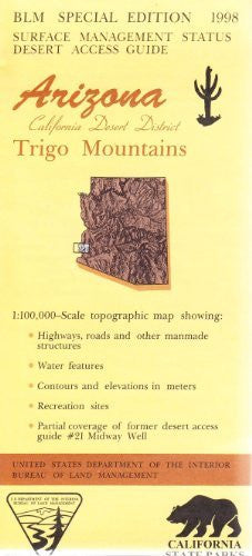 Trigo Mountains Arizona California Desert District 1:100,000 Scale Topo Map Surface Management BLM 30x60 Minute Quad