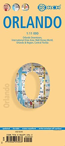 Laminated Orlando Map by Borch (English, Spanish, French, Italian and German Edition)