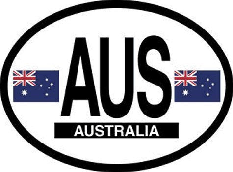 us topo - AUS Australia Oval Reflective Decals 2-Pack - Wide World Maps & MORE! - Automotive Parts and Accessories - Flag It - Wide World Maps & MORE!