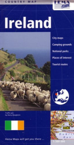 Ireland Country Map by Hema (English, French and German Edition)
