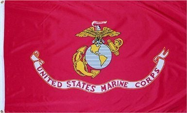 USMC 3'x5' US Marine Corps - - - Double Knit Polyester Flag With Canvas Header & Brass Grommets