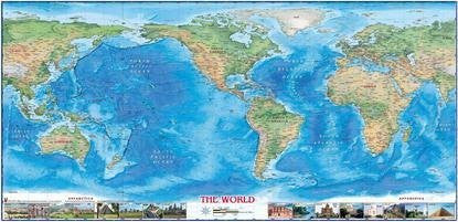 us topo - WIDE WORLD Physical World Mini Mural Gloss Laminated - Wide World Maps & MORE! - Map - Wide World Maps & MORE! - Wide World Maps & MORE!