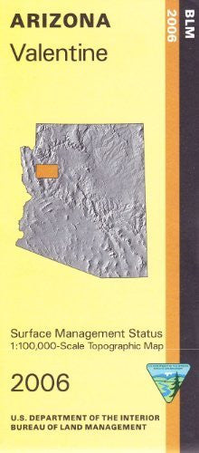 Valentine Arizona 1:100,000 Scale Topo Map Surface Management BLM 30x60 Minute Quad