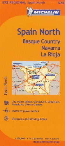 Michelin Spain: North, Basque Country, Navarra, La Rioja Map 573 (Maps/Regional (Michelin))