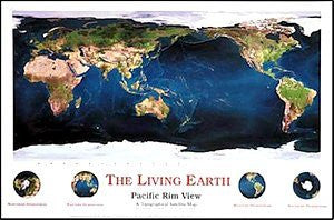 The Living Earth: Pacific Rim View: A Topographical Satellite Map Gloss Laminated