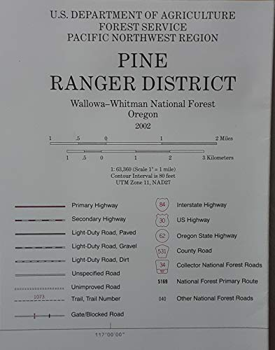 Pine Ranger District Map - Wallowa Witman National Forest