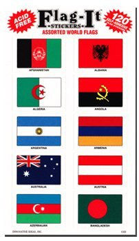 Assorted World Flags Self-Adhesive Flag Stickers Five-Pack