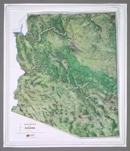 Arizona Satellite Raised Relief Map in a Wood Frame - Wide World Maps & MORE! - Map - Hubbard Scientific - Wide World Maps & MORE!