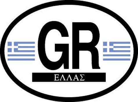 GR Greece Oval Reflective Decals 2-Pack