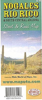 Nogales, Rio Rico, and South-Central Arizona Street & Road Map