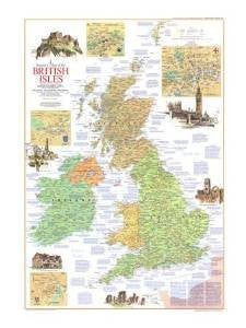 National Geographic Map - A Traveler's Map of the British Isles