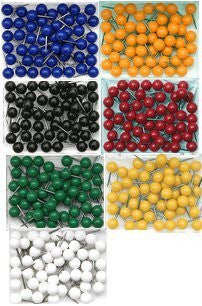 1/4 Inch Map Tacks - Complete Set of All 7 Colors