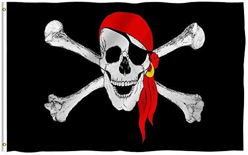 PirateRed Flag + SP.PirateHat Flag + Pirate Flag + US Flag