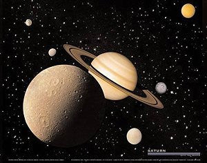 Saturn With 6 Moons Poster Gloss Laminated