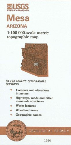 Mesa, Arizona : 1:100 000-scale metric topographic map : 30 x 60 minute series (topographic) (SuDoc I 19.110:33111-A 1-TM-100/994) - Wide World Maps & MORE! - Book - Wide World Maps & MORE! - Wide World Maps & MORE!