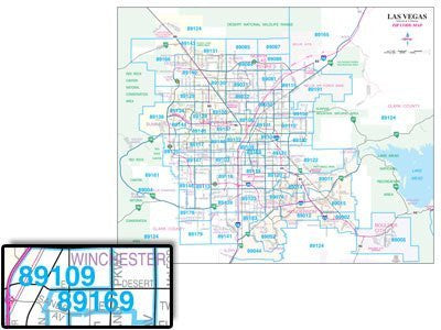 Las Vegas AC Streets Zip Code Wall Map Laminated
