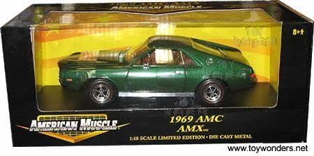 #32281 Ertl American Muscle 1969 AMC AMX, Green 1/18 Scale Diecast - Wide World Maps & MORE! - Toy - Wide World Maps & MORE! - Wide World Maps & MORE!