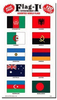 World flag stickers for home or school