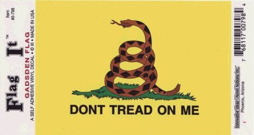 "us topo - Don't Tread on Me Flag Decal - 3.5"" x 5"" - High Gloss Sticker DECAL - Wide World Maps & MORE! - Automotive Parts and Accessories - Flag It - Wide World Maps & MORE!"