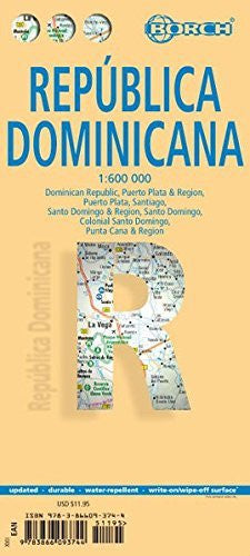 Laminated Dominican Republic Map by Borch (English, Spanish, French, Italian and German Edition)