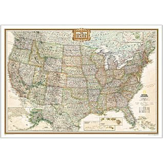 USA Deluxe Laminated Wall Map (National Geographic Executive Series)