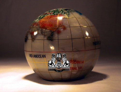 "3"" Mother of Pearl GEMSTONE GLOBE PAPERWEIGHT"