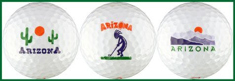 us topo - Arizona with Cactus, Golfing Kokopelli & Mountain Sunset Special Occasion Golf Ball Set - Wide World Maps & MORE! - Sports - EnjoyLife Inc - Wide World Maps & MORE!