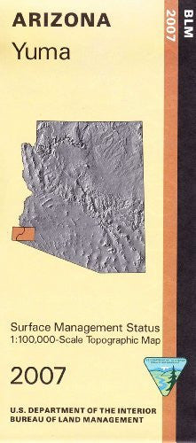 Yuma Arizona 1:100,000 Scale Topo Map Surface Management BLM 30x60 Minute Quad
