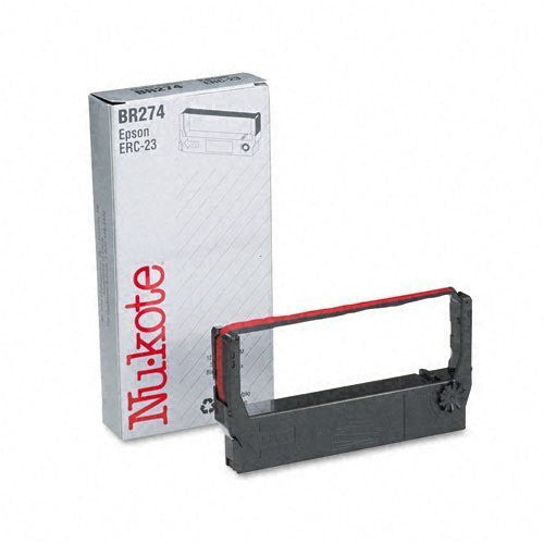Nu-Kote : BR274/PM274 Cash Register/OS Ribbon, Nylon, 1.5M Yield, Black/Red -:- Sold as 2 Packs of - 1 - / - Total of 2 Each