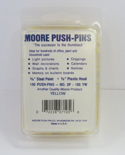 us topo - Moore Plastic Head Push Pin, Yellow, 100 Per Box (2P-100-YW) - Wide World Maps & MORE! - Office Product - Moore Push-Pin - Wide World Maps & MORE!