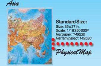 Asia Physical Wall Map Gloss Laminated