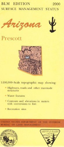 Arizona: Prescott -  1:100,000-Scale Topographic Map, 60 X 30 Minute