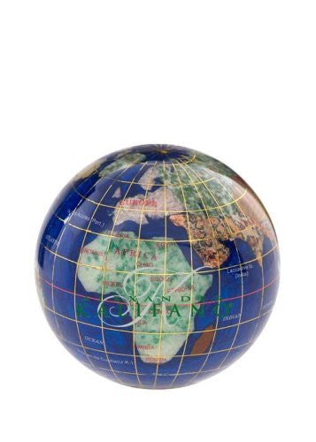 "3"" Caribean Blue Gemstone World Globe Paperweight"