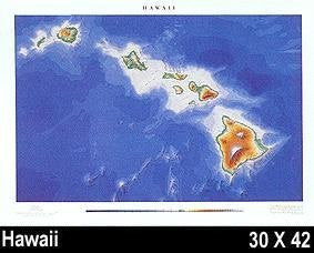 Raven Wall Map For The State Of Hawaii - Laminated