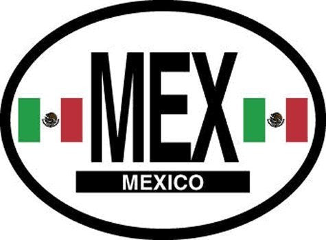 MEX Mexico Oval Reflective Decals 2-Pack