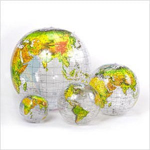 "Transparent Ocean & Topographic Landmass (Inflatable World Globe 27"") (Inflatable World Globe 27"")"