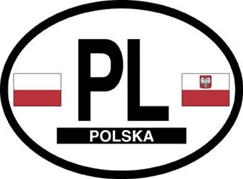 PL Poland Oval Reflective Decals 2-Pack