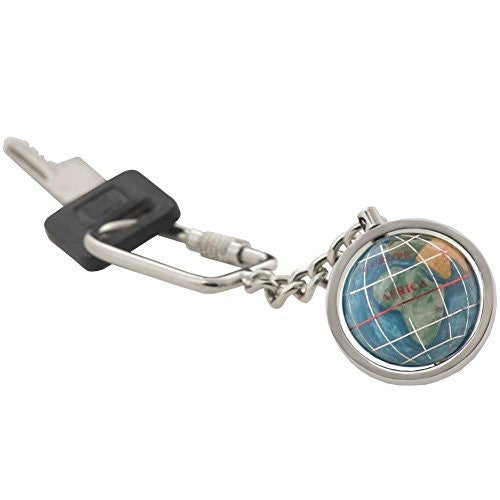 Alexander Kalifano Multi-Gemstone Globe & Antique Silver Keychain w/ Gift Box - Choice of Colors!