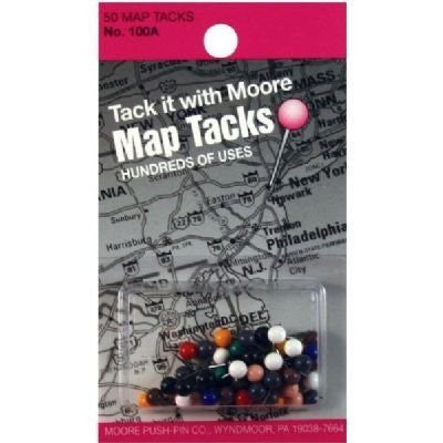 us topo - 1/8 Inch Map Tacks - Assorted Colors - Wide World Maps & MORE! - Office Product - Moore Push-Pins - Wide World Maps & MORE!