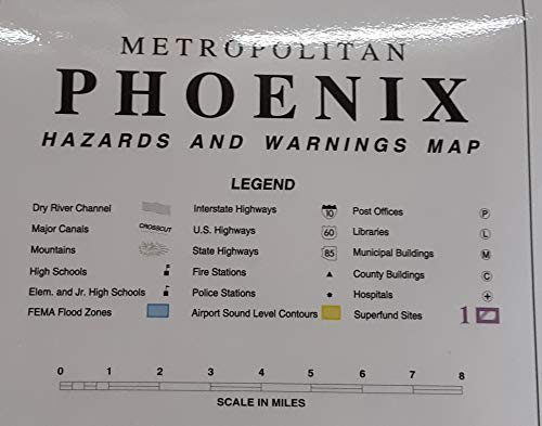 Metropolitan Phoenix Hazards and Warnings Gloss Laminated Wall Map